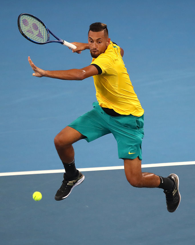 BRISBANE, AUSTRALIA - JANUARY 03: Nick Kyrgios of Australia plays a shot against Jan-Lennard Struff of Germany during day one of the 2020 ATP Cup Group Stage at Pat Rafter Arena on January 03, 2020 in Brisbane, Australia. (Photo by Jono Searle/Getty Images)