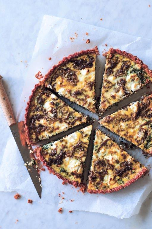 nourishing meal of kale, herb and goats cheese tart