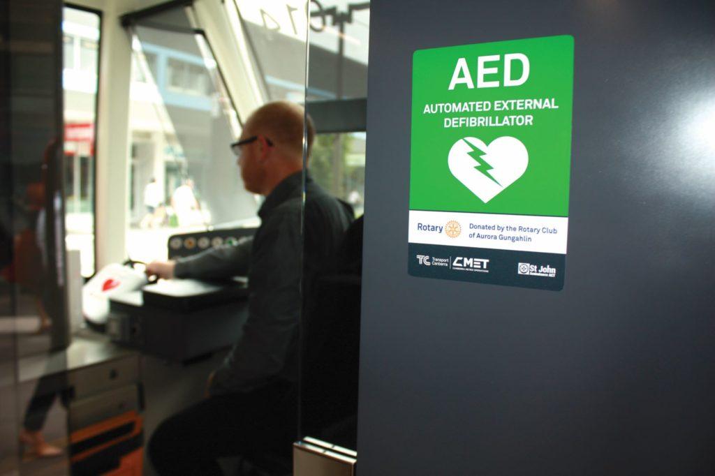 defibrillator in a train