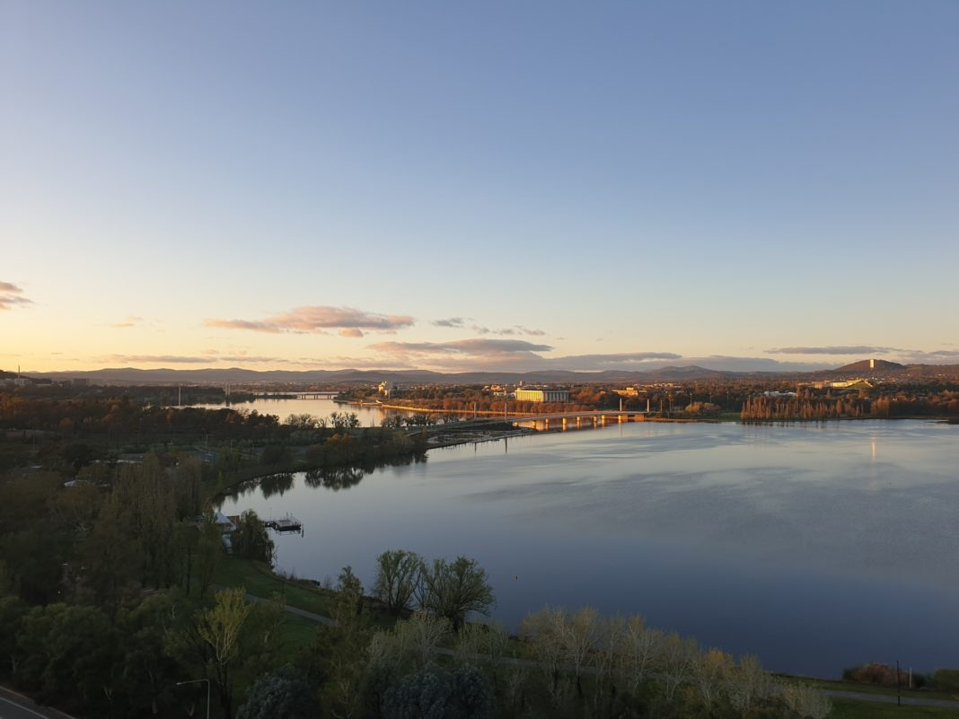 elevated photo of Lake Burley Griffin West Basin in the evening.