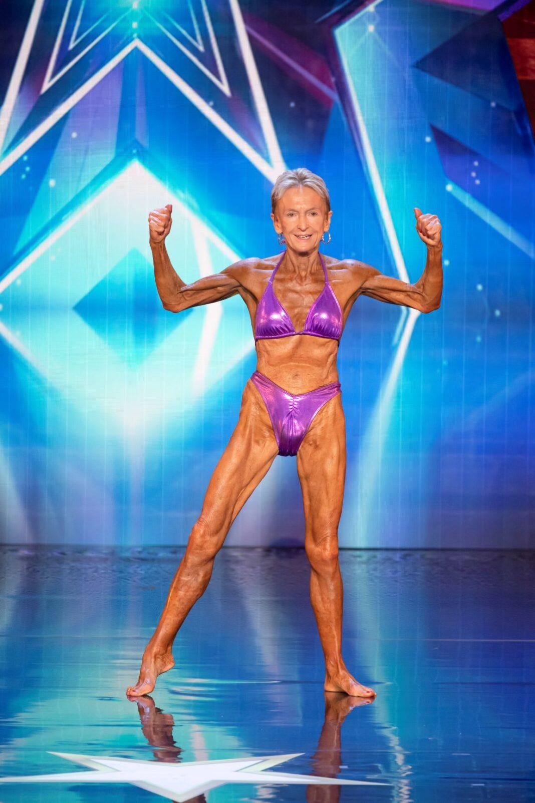 elderly woman in bikini flexing her muscles