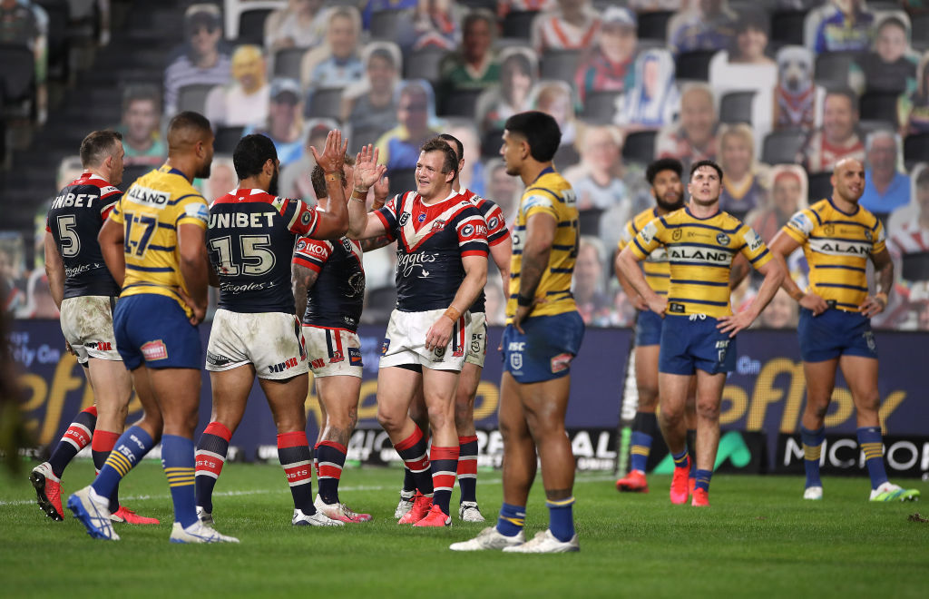 Sydney Roosters Rugby League players celebrating a try