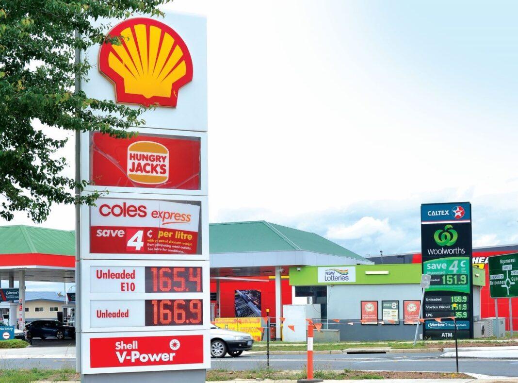 Petrol stations price signage Gungahlin