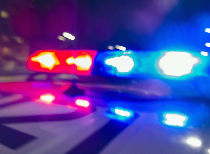 Flashing lights on top of police patrol car