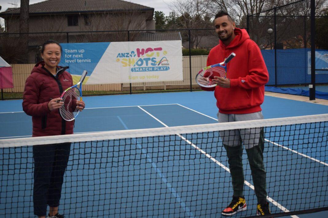 Nick Kyrgios and Alison Bai holding tennis rackets