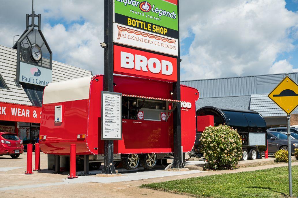 The Brodburger Woden van in the Phillip Paul's Centre carpark.