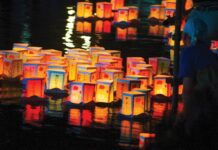 lantern candles on water