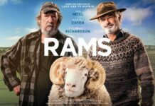 dvd cover for the film Rams with two men and a ram
