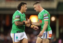 Josh Papalii and Jack Wighton shaking hands