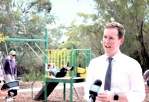 Minister Chris Steel opens the new Torrens play space