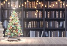 small christmas tree next to some books