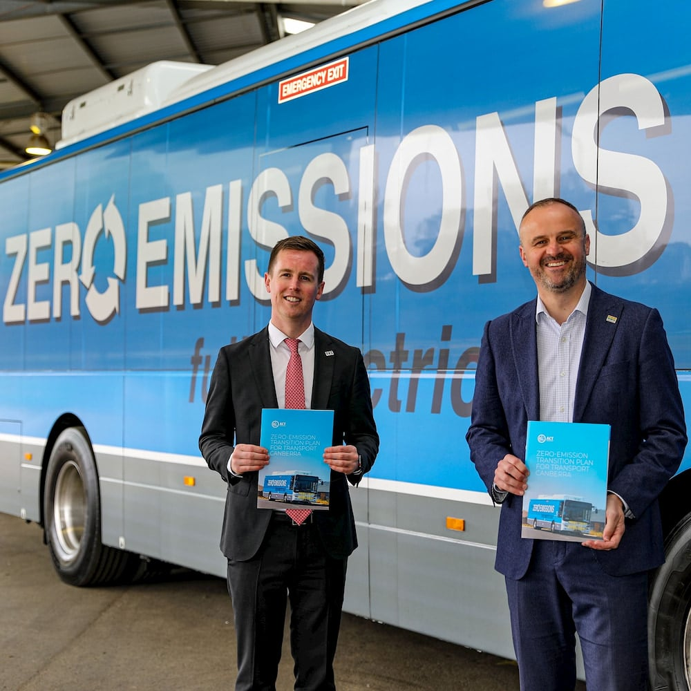 Minister for Transport and City Services Chris Steel (left) said the ACT Government intends to replace every diesel and compressed natural gas bus in Transport Canberra's fleet with zero-emission buses by 2024. Photo: Facebook.