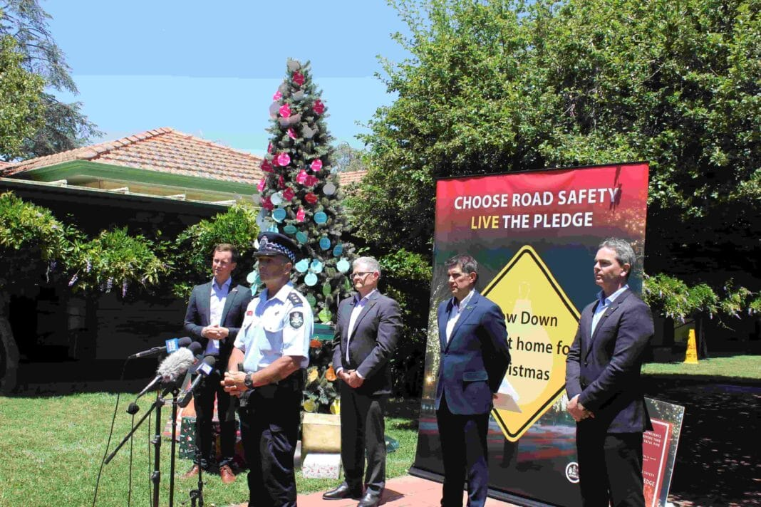 Minister for Transport Chris Steel; Detective Acting Inspector Ivan Naspe; AAMI spokesman Dan Wilkinson; Russell White, Australian Road Safety Foundation founder and CEO; and Australian Road Safety Foundation ambassador Craig Lowndes.