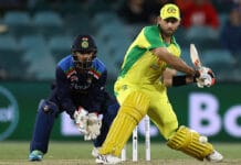 Glenn Maxwell of Australia bats during game three of the One Day International at Manuka Oval