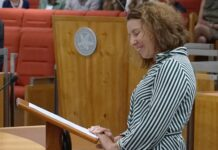 Rebecca Vassarotti MLA, Member for Kurrajong, delivers her inaugural speech. Picture: ACT Legislative Assembly.