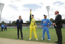 Steve Smith tossing the coin at Manuka Oval