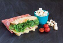 sandwich and popcorn