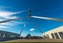 Shot of flagpole at Australian Parliament House looking up towards a blue sky