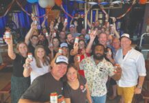 Bentspoke team celebrate their Crankshaft IPA taking out the top spot in a national beer poll