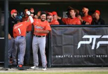 Canberra Cavalry celebrating in the dug out