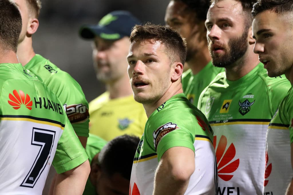 SYDNEY, AUSTRALIA - SEPTEMBER 26: Tom Starling of the Raiders looks on after a Sharks try during the round 20 NRL match between the Cronulla Sharks and the Canberra Raiders at Netstrata Jubilee Stadium on September 26, 2020 in Sydney, Australia. (Photo by Mark Kolbe/Getty Images)