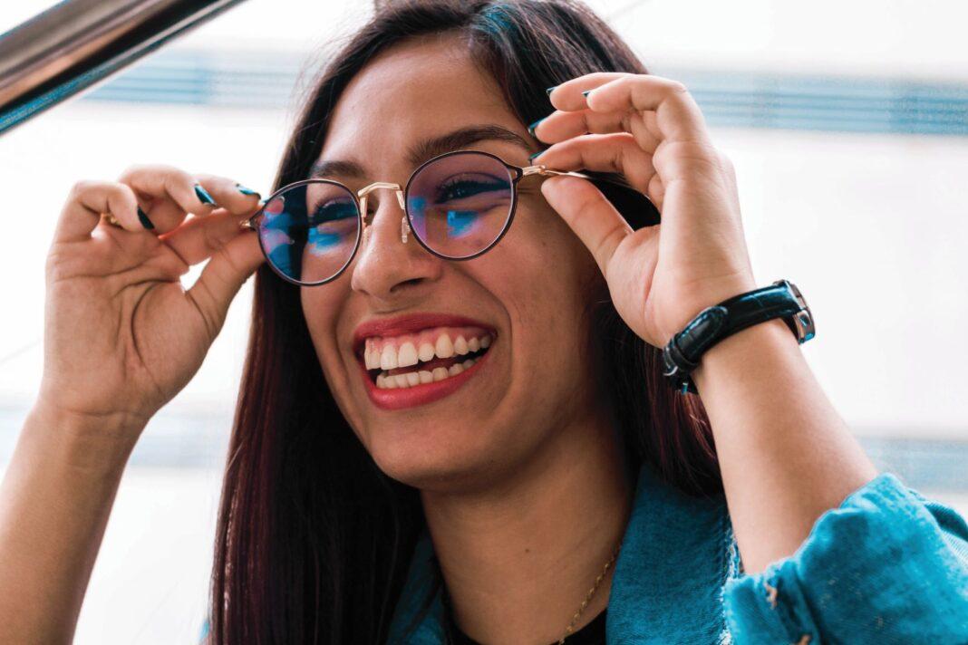 Eye health woman wearing glasses