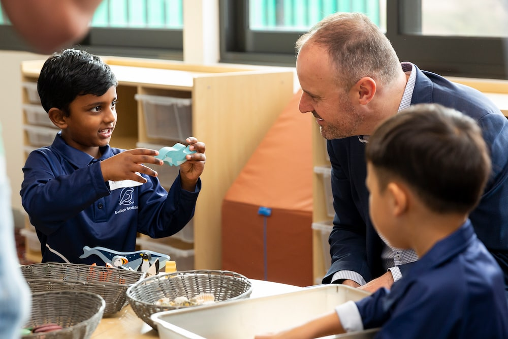 Chief Minister Andrew Barr with students at the Evelyn Scott School. Picture: Kerrie Brewer