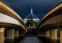View of Parliament House from Commonwealth Bridge.