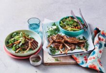Miso lamb cutlets with rocket and pear salad