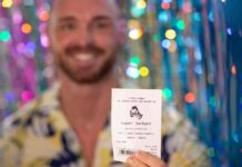 blurred image of man holding lottery ticket