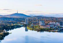 aerial shot of Canberra