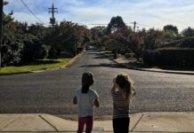 Two children on a footpath taking a photo of their leafy Canberra suburb