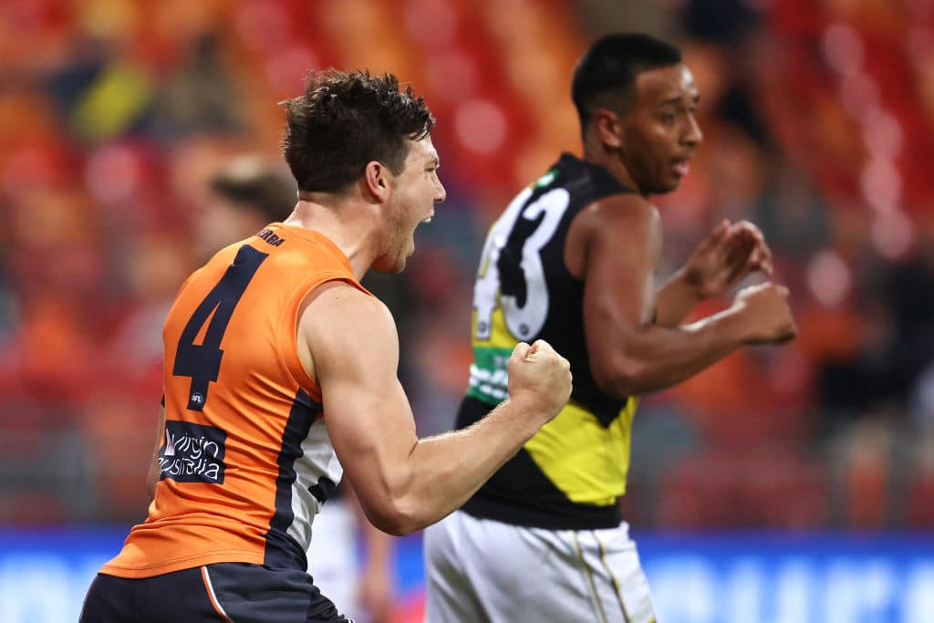 SYDNEY, AUSTRALIA - JULY 24: Toby Greene of the Giants celebrates kicking a goal during the round 8 AFL match between the Greater Western Sydney Giants and the Richmond Tigers at GIANTS Stadium on July 24, 2020 in Sydney, Australia. (Photo by Cameron Spencer/AFL Photos/via Getty Images)
