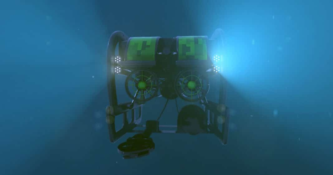an underwater drone with lights glowing submerged in the sea